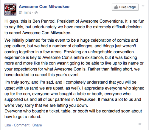 Ben Penrod official statement on Awesome Con Milwaukee cancellation