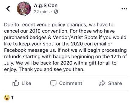 A g S Con Announces Cancellation of 2019 Event — Then Weirdly